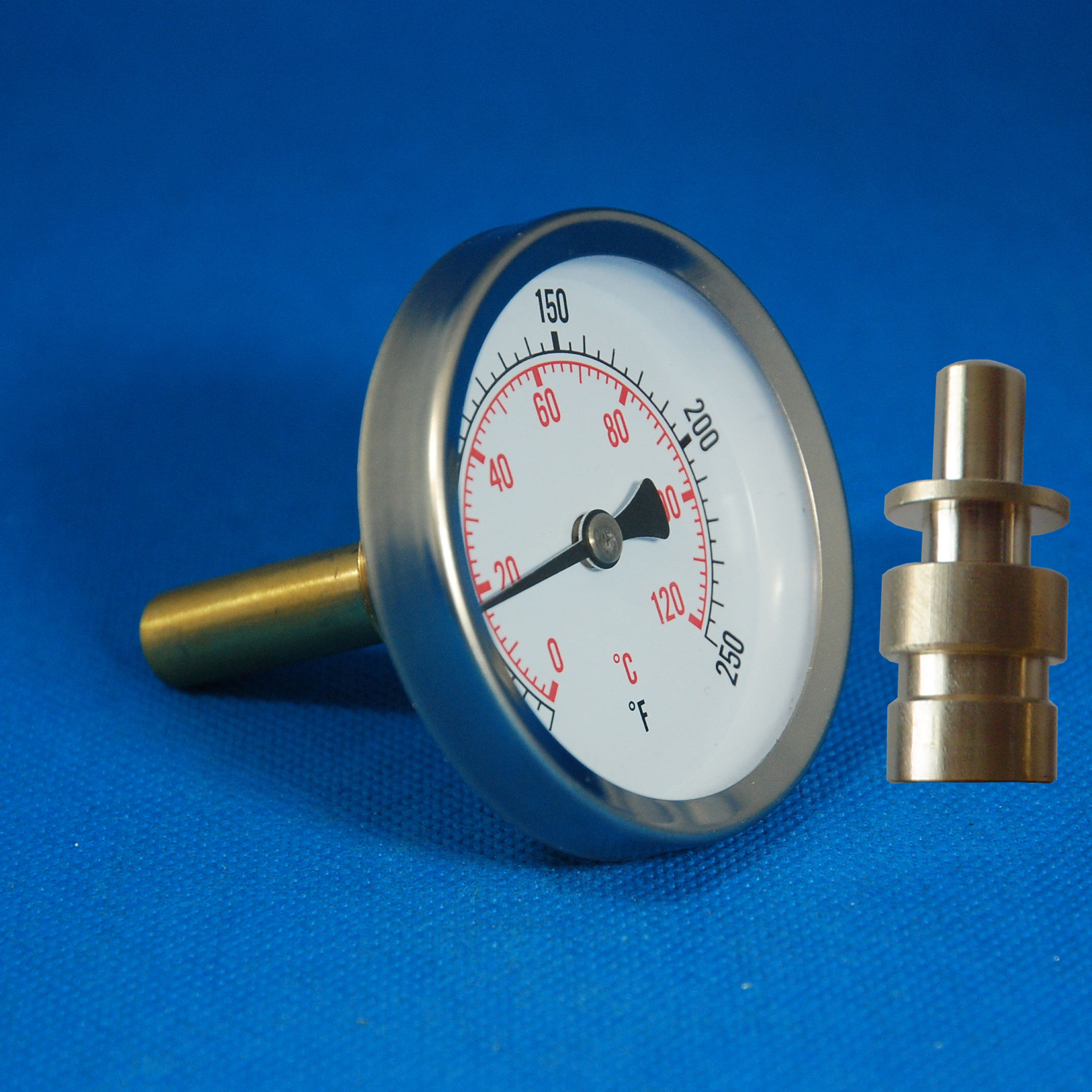 Bimetal pipe thermometer 0-120C with pocket
