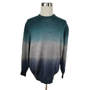 VS Cashmere Fashion Middle Aged Fashion Wrinkle Tie Dye Classic Crew Neck Knitwear Exquisite Man Sweater