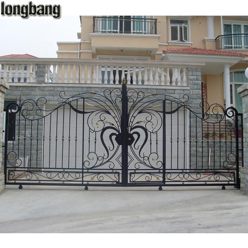 simple modern sliding entrance wrought iron main gate design for home