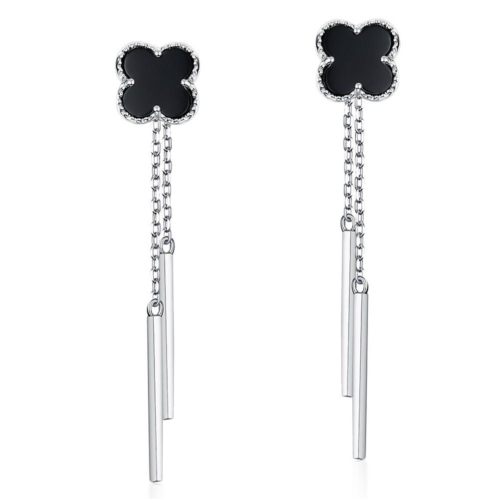 Long drop lines lucky leaf white gold plating black onyx 925 sterling silver earrings stud earring