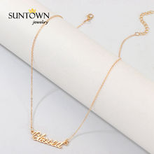 SUNTOWN Hot Sale Letter Necklace English Blessed Pendant