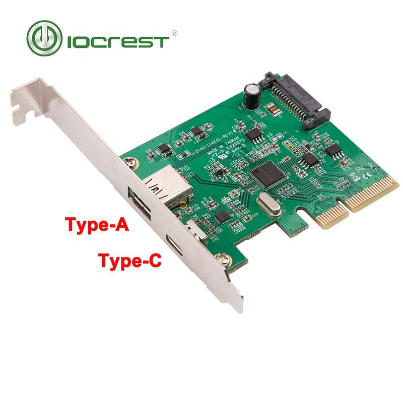 <span class=keywords><strong>PCI</strong></span> <span class=keywords><strong>express</strong></span> x4 1 puerto usb 3,1 tipo-A y 1 puerto tipo c exprés tarjeta usb-c pcie