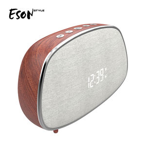 Eson Stil Retro Dual LED Digital Wecker FM Radio mit Stereo Sound Holz Drahtlose Bluetooth Lautsprecher