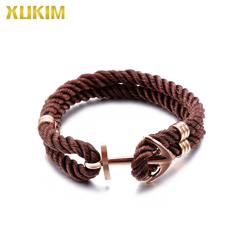 KBL123 Xukim Jewelry Stainless Steel Bracelet Nylon Anchor Bracelet Hand Woven Nylon Rope Chain