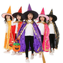 Witch Cloak Children Halloween Costume  Kids Role Play Funny Robe Pointed Hat Pumpkin Set Festival children cloak cape