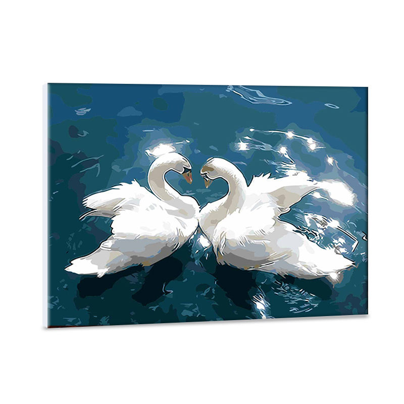 Swan of love diy painting by numbers 40*50hand-painted the living room decorative animal painting