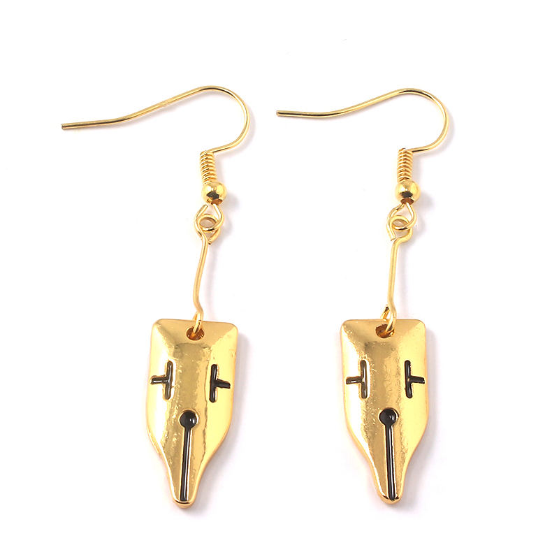 Jinxian Stars Drop Earrings Gold Plated Ear Studs Dangling Fashion