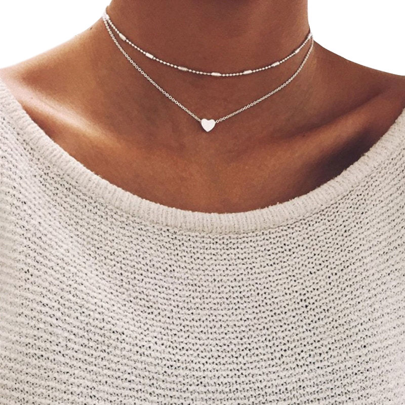 European and American Trendy Simple Heart Pendant Necklace Peach Heart Multilayer Collar Necklaces for Women Jewelry Accessories