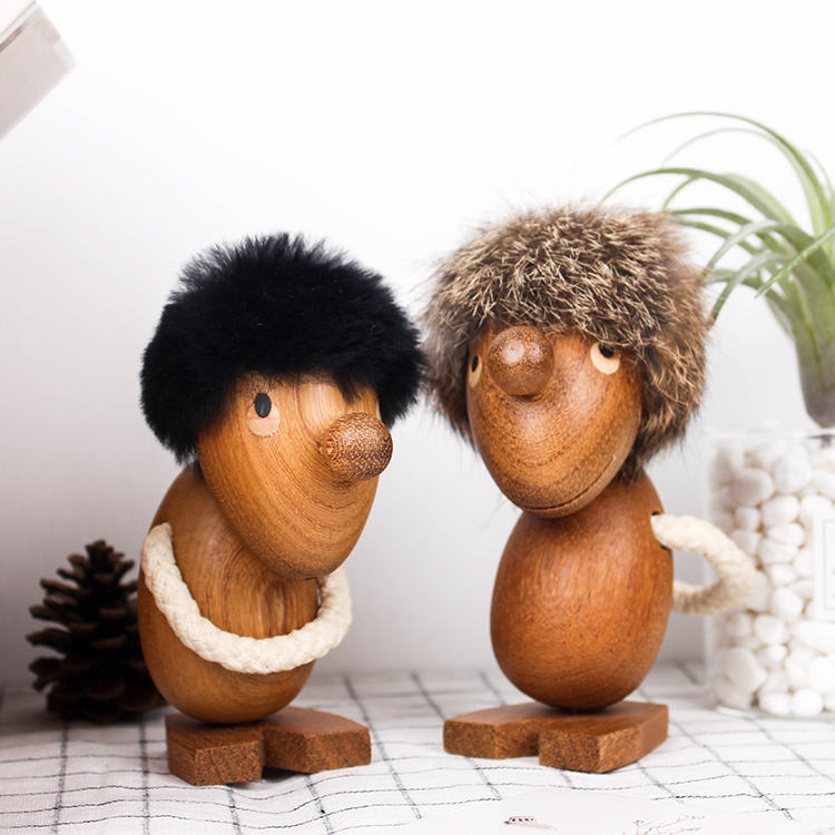 Nordic home decoration boutique wood crafts dolls ornaments , wooden products toys