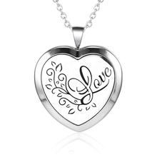 Valentine gifts for girlfriend 316L stainless steel jewelry silver Heart LOVE Engraved  oil diffuser pendant