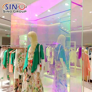1.37x50M Shopping Mall Commercial Building Rainbow Colorful Self Adhesive Decoration Sticker Dichroic Glass Window Tint Film