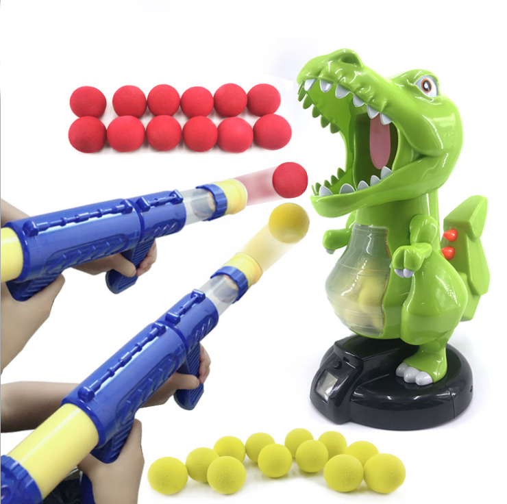 Ejection Dinosaur Gun, Light Up Dinosaur Toy Blaster with 20 Bullets and Roaring Sound, T-Rex Shooting Dinosaur for Boys and Gir
