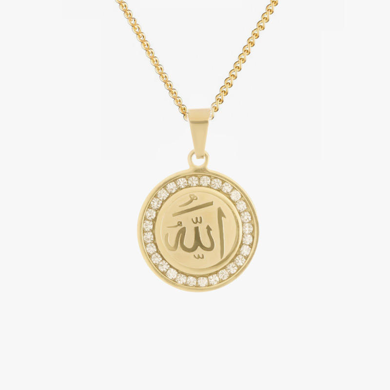 Hot Sale 18K Gold Stainless Steel Allah Name Islamic Necklace Pendant Arabic Word Coin Charm Necklace for Jewelry Making