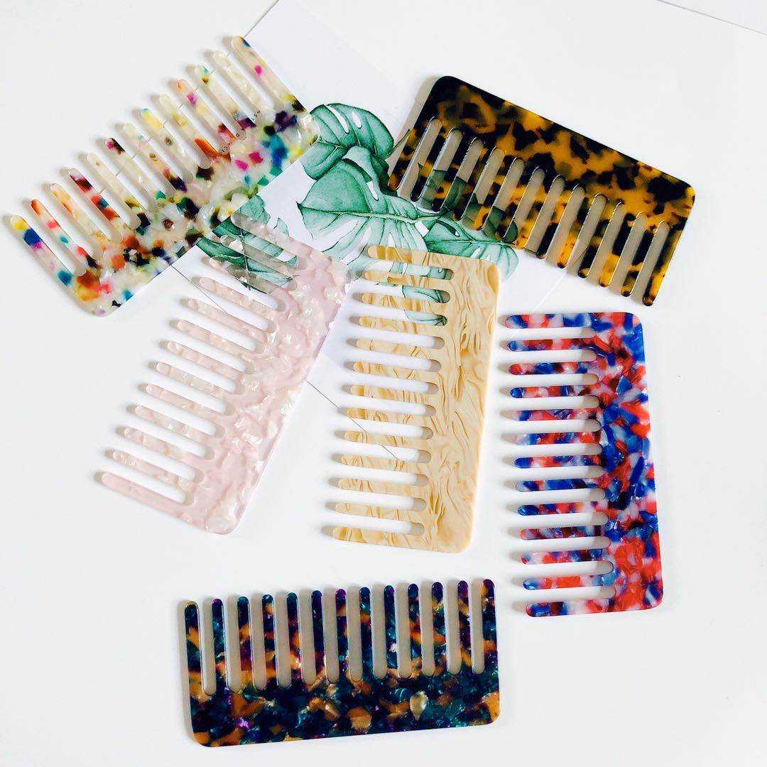 Fashionable acrylic acetate comb marble leopard pattern hairdressing comb can be customized