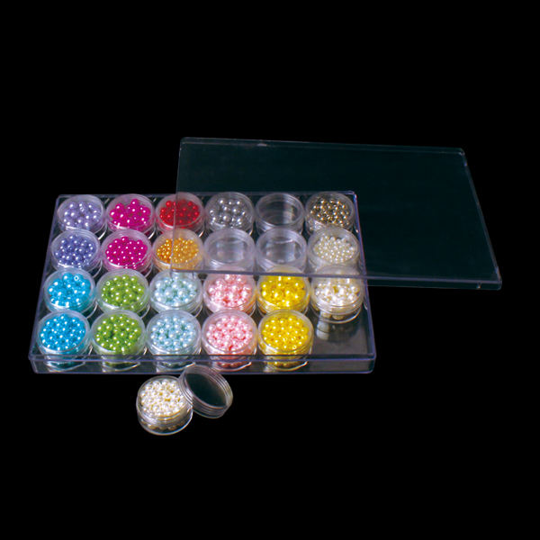 21815 Clear Bead Organizer Storage 24 Screw-Top Canisters in a 9.45 x 6.3 x 1in Case, Snap-Tight Container Hold Beads