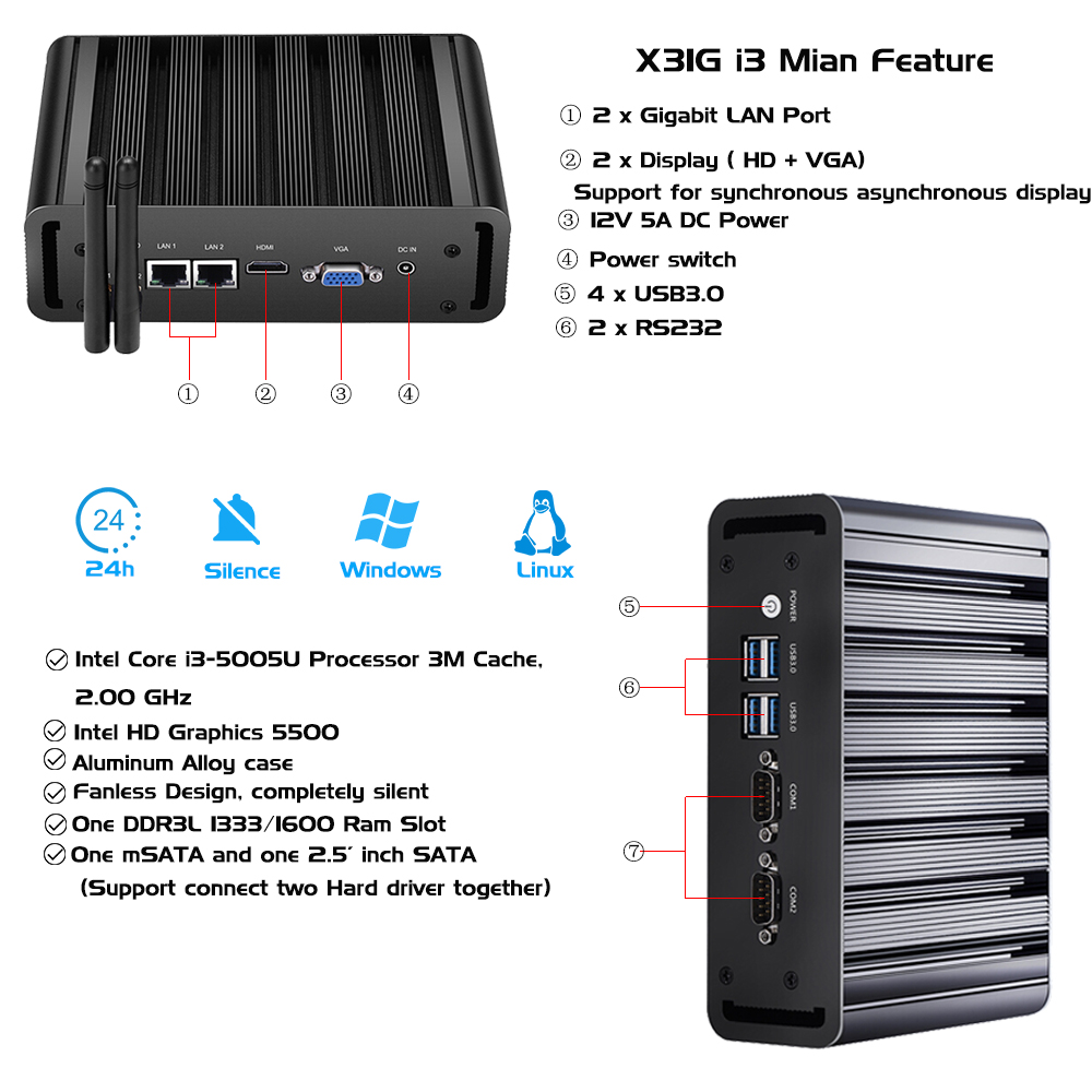 Computador industrial sem ventilador mini pc intel i3 i5 i7 3805u j1900 desktops quad core w/2 rs232 2 rj45 gigabit ethernet portas lan