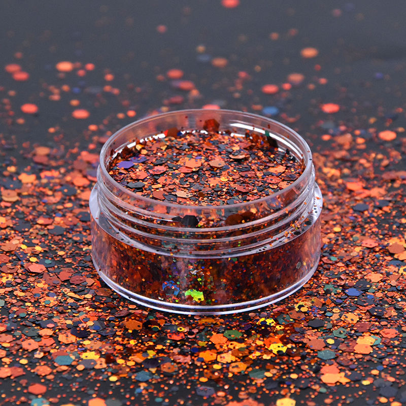 Eco-friendly polyester orange chunky mix glitter halloween cosmetic glitter for Fall decoration Makeup Tumbler