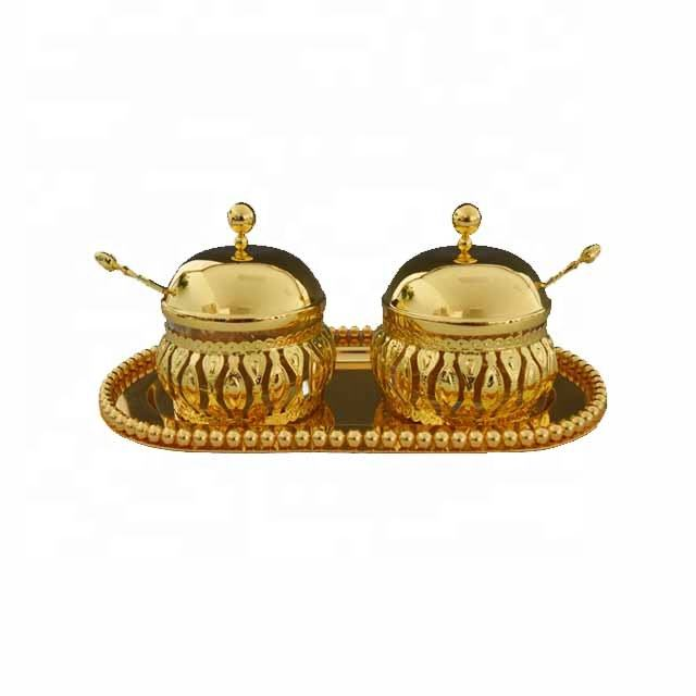 Household table Diwali gift items metal gold plated spice candy bowl set