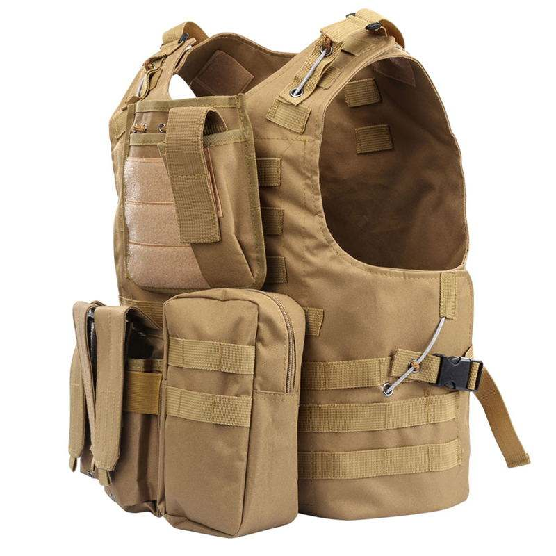 Tan Hunting Paintball Molle Vest Multiple Pockets Military Tactical Vest Combat Airsoft Tactical Vest