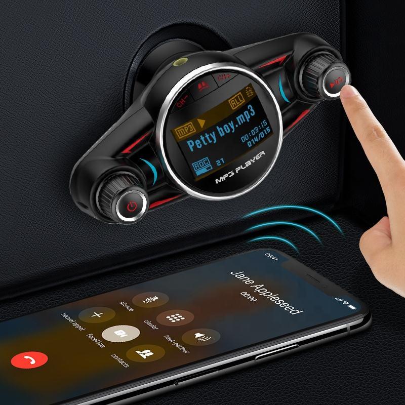 Mais novo Adaptador de Áudio Transmissor de <span class=keywords><strong>FM</strong></span> Do Carro Do Bluetooth Receptor Sem Fio Handsfree MP3 Player