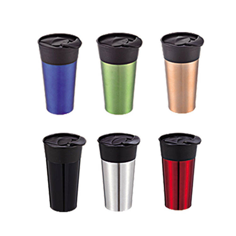 Double wall 14OZ cool coffee mugs cups stainless steel with lid