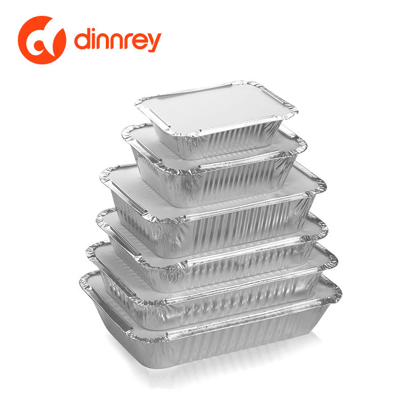 Food grade rectangle aluminium foil container Disposable take out box