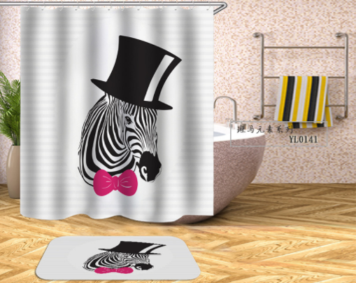 G&D New Zebra Waterproof and Mildew Partition Bathroom Shower Curtain