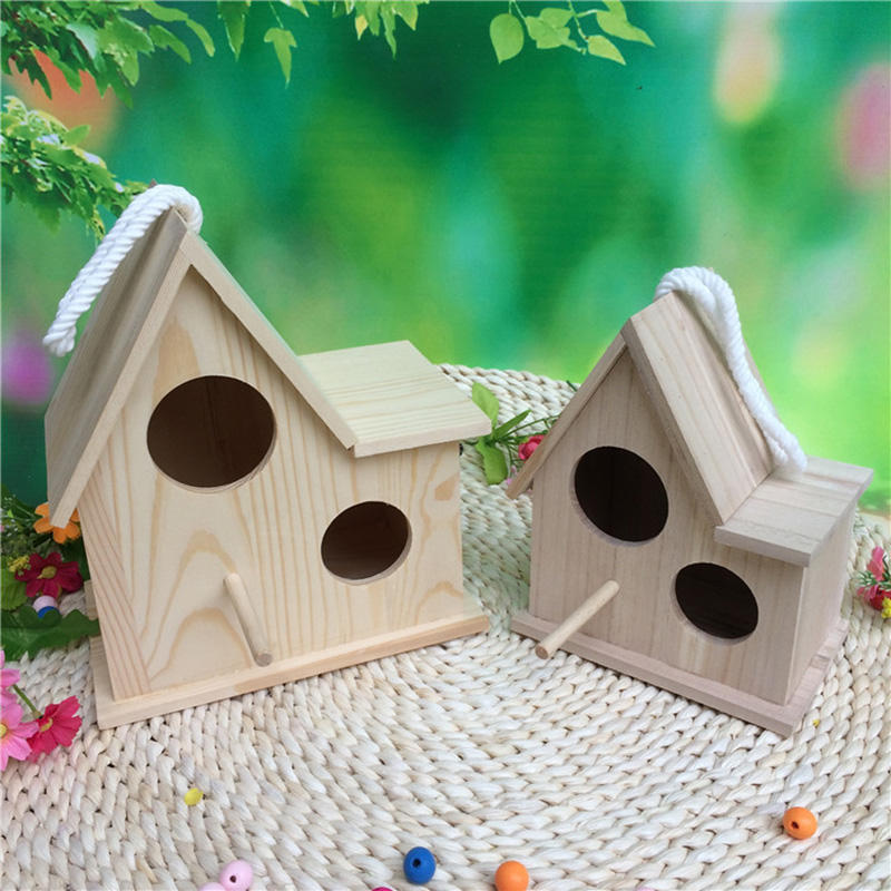 Hot Sale Custom Wooden Pet Parakeet Breeding Nesting Bird Aviary Small Bird Cage Box Wooden Bird House