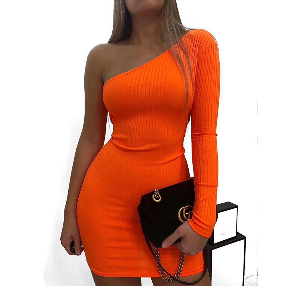 Hot selling Sexy One Shoulder Long Sleeve Bodycon Mini Dress Candy Color Dresses