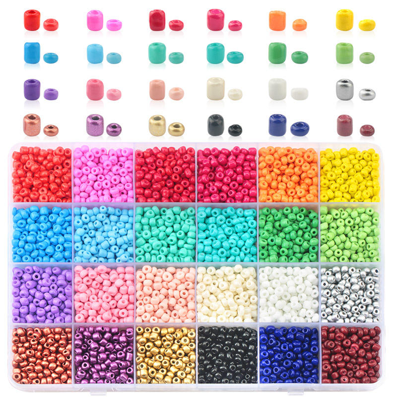Seed Glass Beads Plastic Box 24 Slots 12/0 8/0 6/0 Colors Shiny High Quality Seed Beads for Jewelry Diy Making