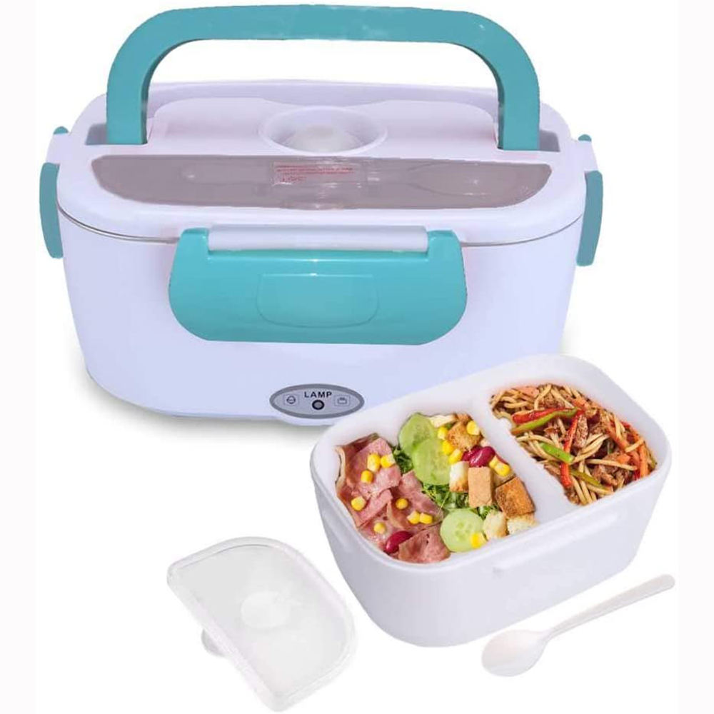 1.05L Multifunction Food Warmer 2 Compartments Electric Heating Lunch Box For Car And Home 110V & 12V 40W