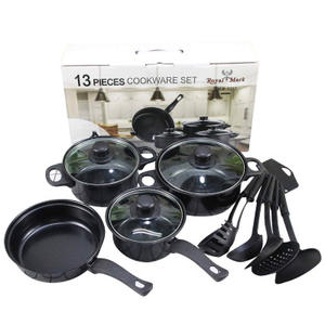 13pcs cheap kitchen housewares iron non stick desini kitchen pots cookware sets