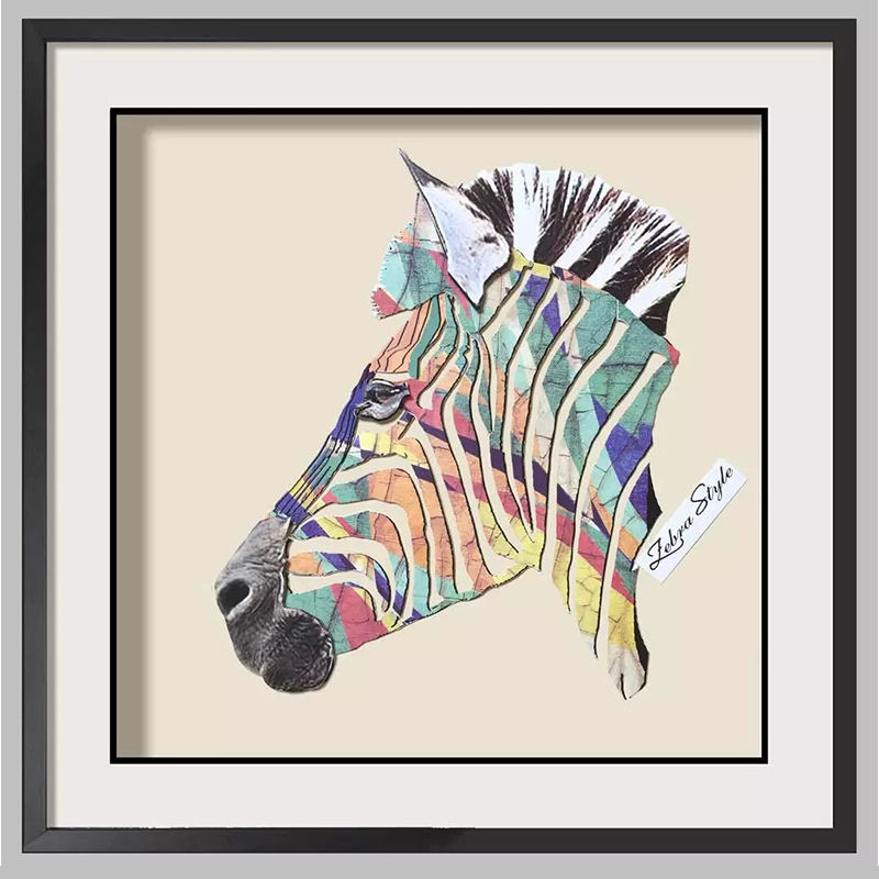 Home Wall Art 42x42cm with Framed zebra Wall painting Paper Collage Art 3D for Wall Decor
