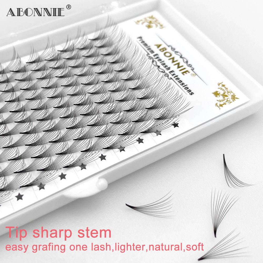 Korean PBT heat banded 10d 0.07mm short stem thin premade volume lashes fan bulk CD curl premade volume fans eyelash extension