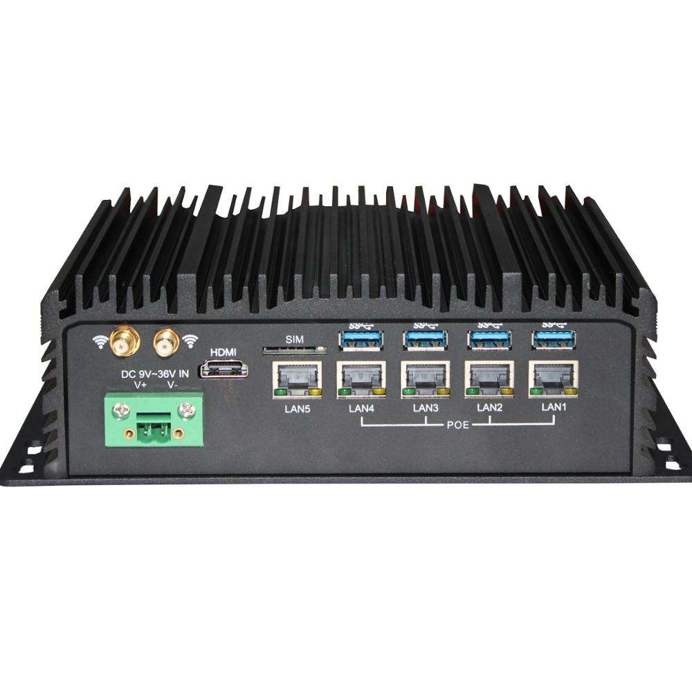 Cheap Fanless Industrial mini box pc 4 poe embedded rugged computer