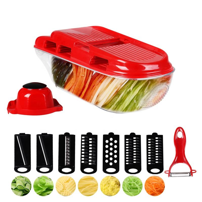 Kitchen Upgraded 7 Blades Adjustable Potato Vegetable Shredder Manual Food Mandoline Slicer with Fruit Peeler