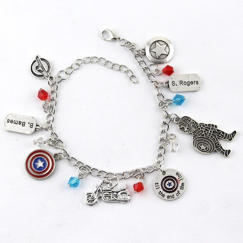 Hot Koop De Avengers Marvel Captain America Winter Soldier Geïnspireerd Thema Multicharm Metalen Bedelarmband