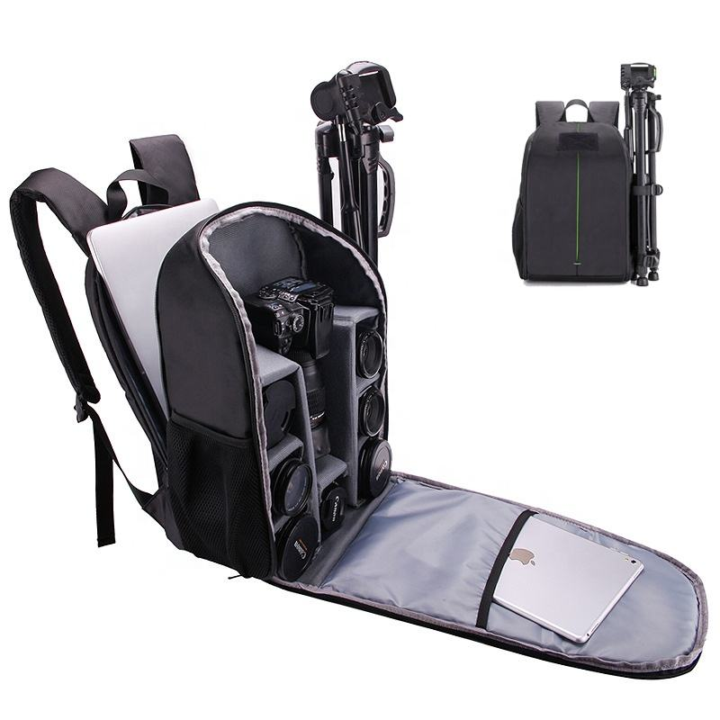 Custom Logo CCTV Dual Shoulders Scratch-proof Camera Case DSLR Basics Camera Backpack Bag with Laptop Compartment