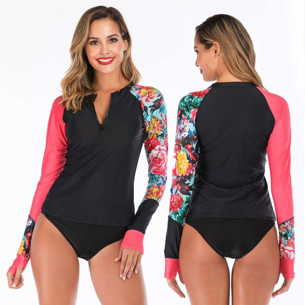 Women's Rash Guard Tops Long Sleeve Zipper Front and Crew neck line soft 4 way super stretch Bathing Suits Printed UV Sun Protec