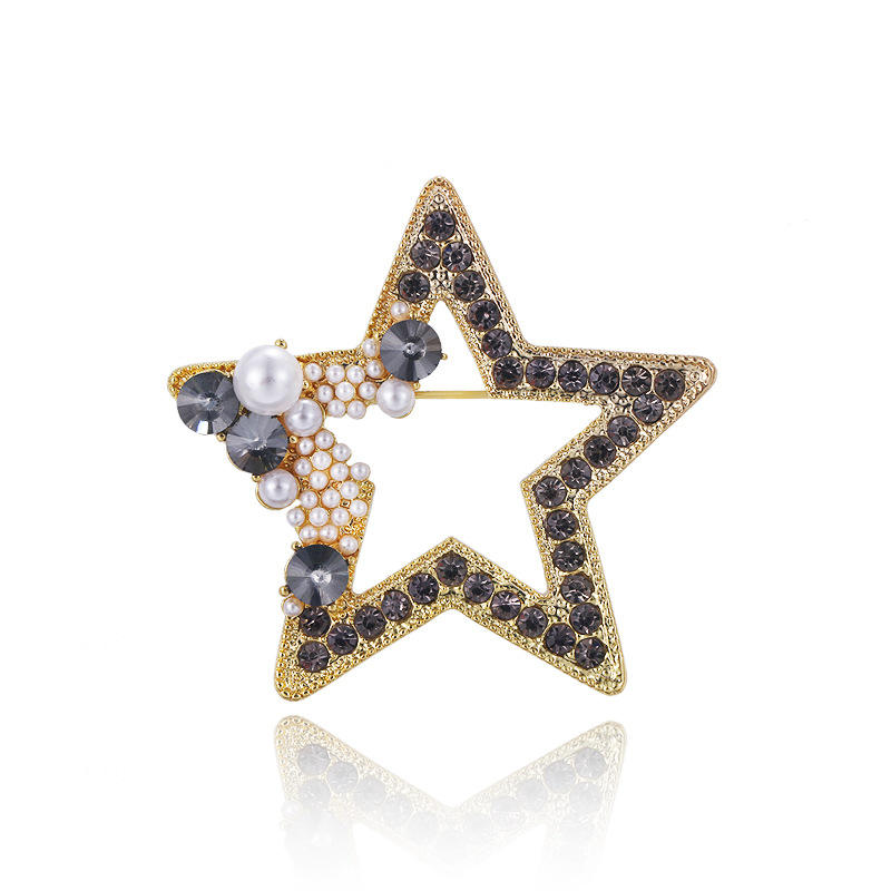 2020 New Fashion Brooches Rhinestone Star Badge For Blouses Jewelry Star Collar Brooch Lapel Pin Accessories