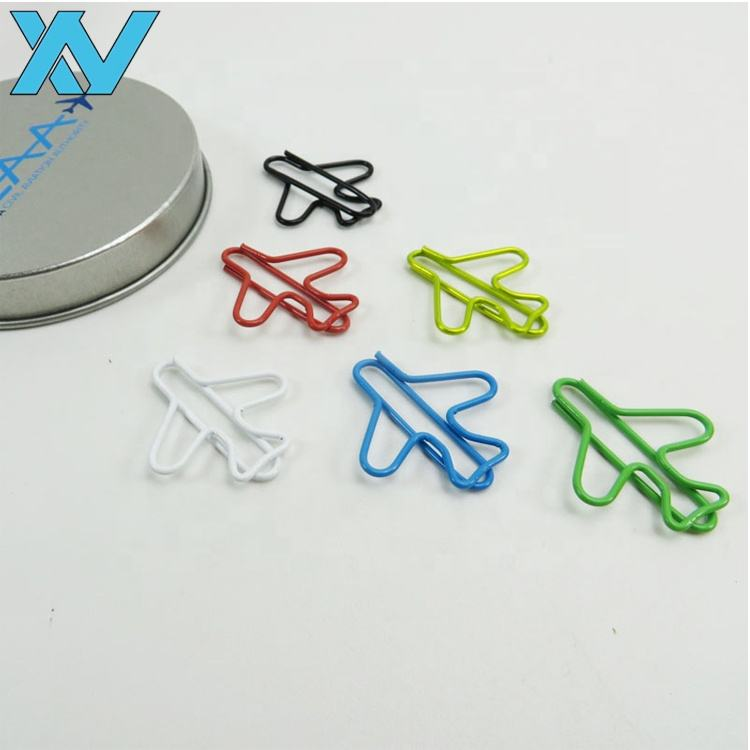 Colorful promotional airplane shape metal wire paper clip gifts in round tin box