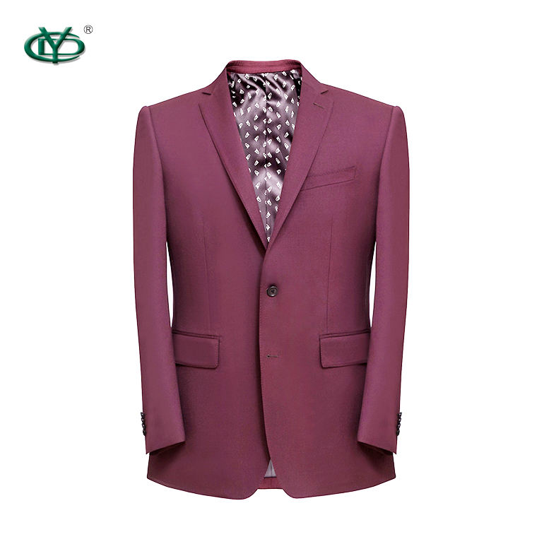 High quality anti shrink wine red color wool blazer men business suits tailored