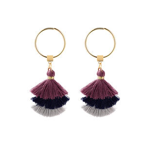 fashion use thread make delicate tassel ear stud s925 silver needle 3 layer fringe earrings