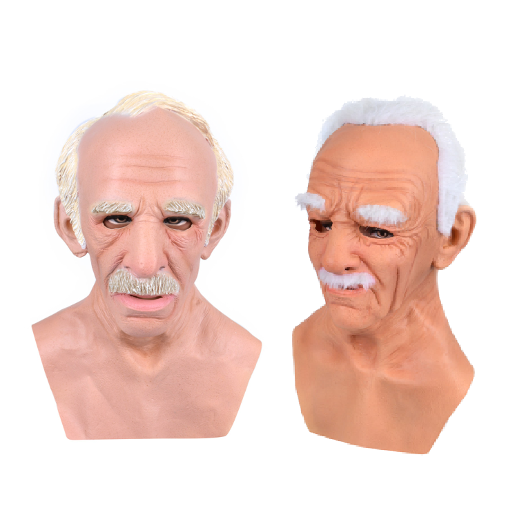 White short hair whole face head weird halloween party Costume old man mask latex realistic
