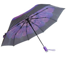 Woman Parasol Black Blossom Windproof Totes Clear Compact Umbrella