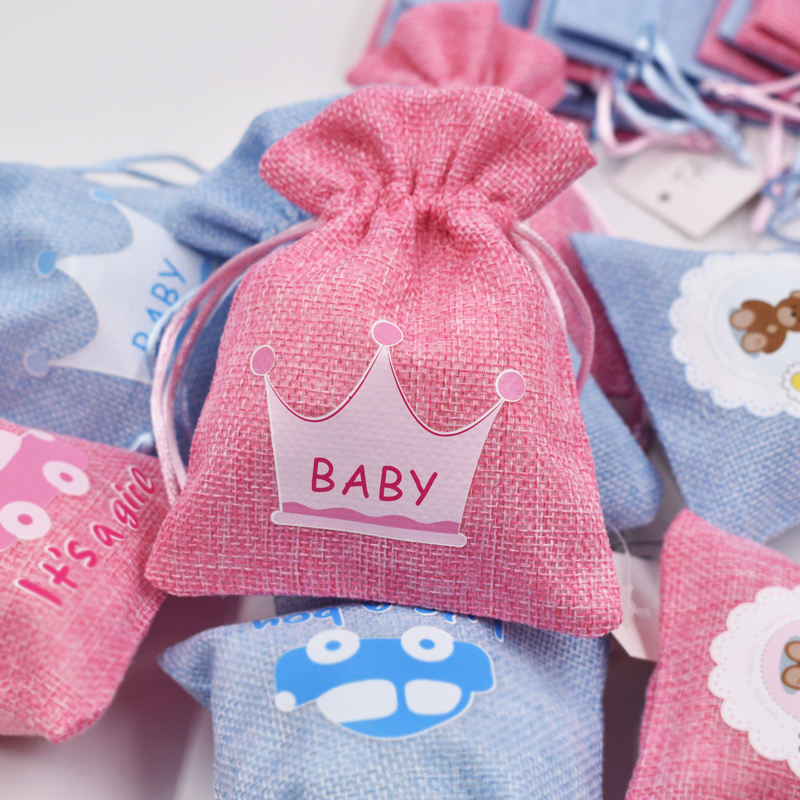 Wholesale baby shower gifts for guests pink blue bags for candies candy bag