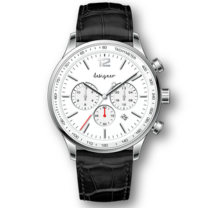 Design your own logo japan movement genuine leather strap chronograph watches