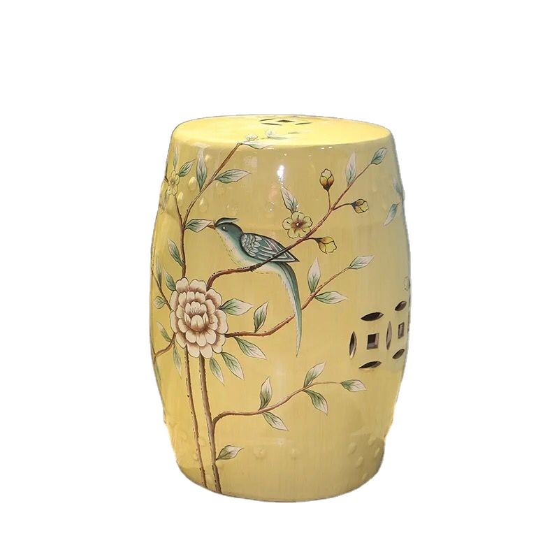 Bird flower pattern art ceramic sitting stool made in China HY-S35