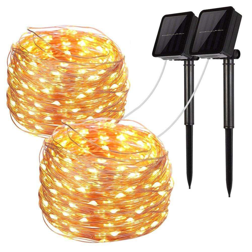 Kanlong Holiday Party Garden Rice Mini Christmas String Copper Wire Fairy Led Solar Power Charging Outdoor Decorative Light