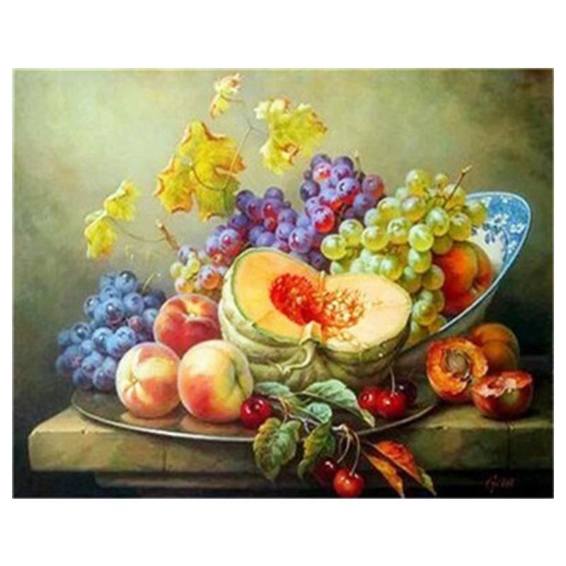 Factory Wholesale Diamond Painting New Design Fast RTS Cross Stitching Cantaloupe Peaches Grapes Fruit Painting On Canvas Art